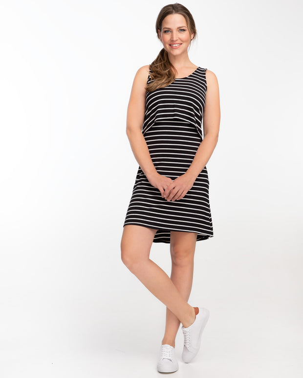Black and white striped singlet dress for breastfeeding by Peachymama 2