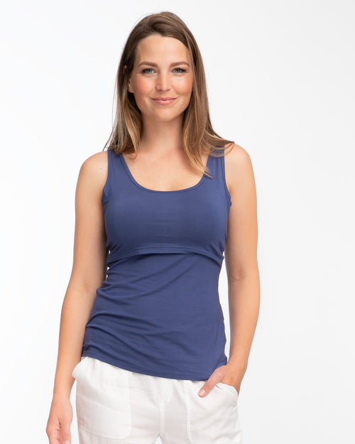 Blue bamboo nursing tank top by Peachymama - Denisa