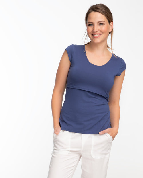 Blue bamboo cap sleeve nursing top by Peachymama 1