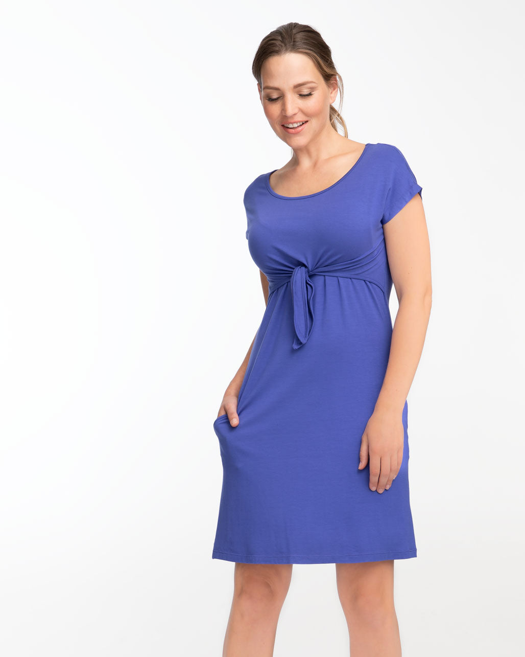 Blue Everyday Tie Front Nursing Dress by Peachymama - Denisa