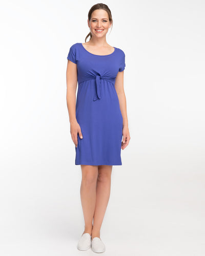 Blue Everyday Tie Front Nursing Dress by Peachymama - Denisa 2