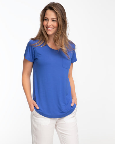 Blue bamboo nursing tee by Peachymama 1