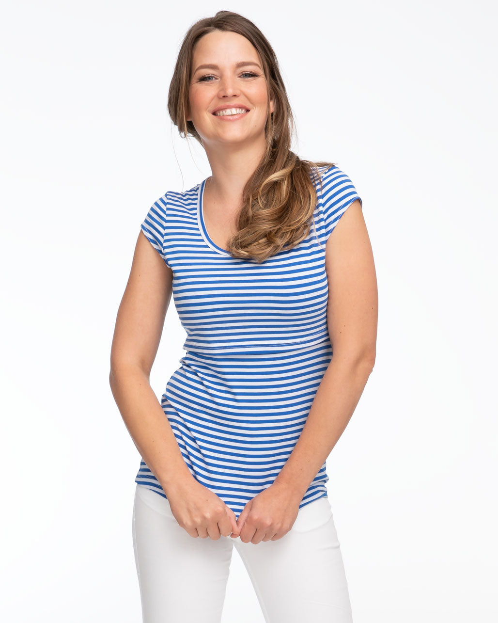 Blue stripe cap sleeve breastfeeding top by Peachymama - 1