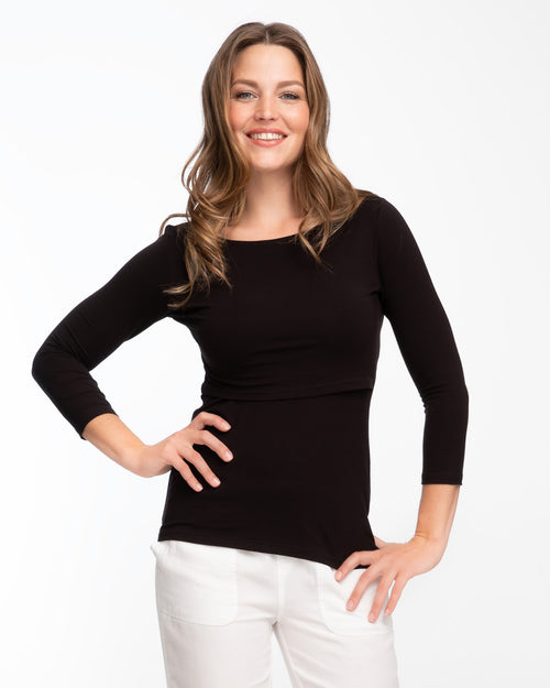 Black bamboo boatneck nursing top with 3/4 sleeves by Peachymama 3