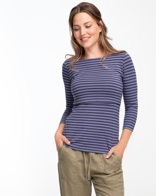 Blue stripe bamboo nursing top in boatneck style by Peachymama 1