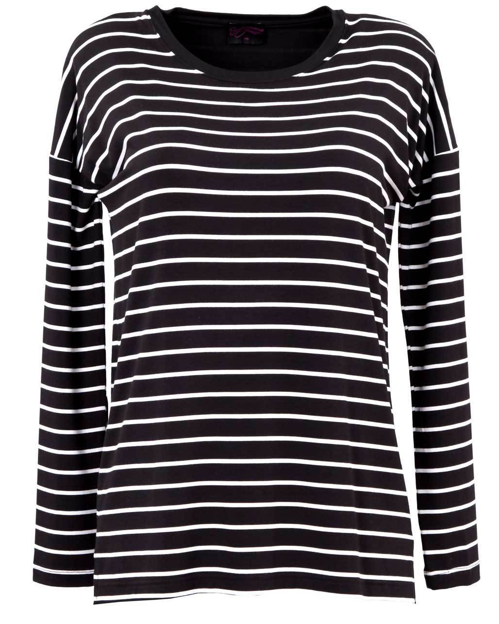 Black and white striped long sleeve Australian nursing top - Front View