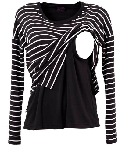Black with White Stripe Long Sleeve Nursing Top