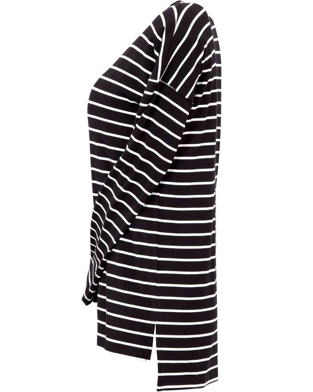 Black and white striped long sleeve Australian nursing top - Side View