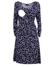 Breastfeeding dress in navy blue polkadot showing opening for breastfeeding by Peachymama