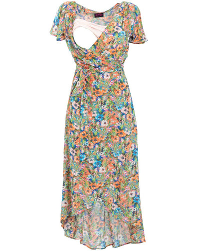 Peachymama Peach Floral Nursing Dress - opening detail