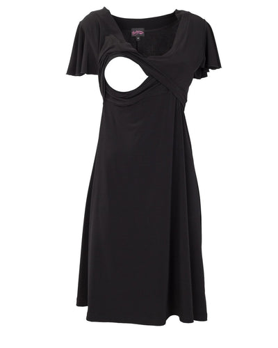 Va Va Voom Black Breastfeeding Dress showing opening for nursing