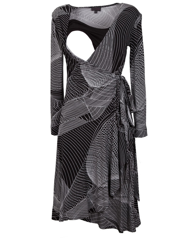 Printed Wrap Breastfeeding Dress - Detail