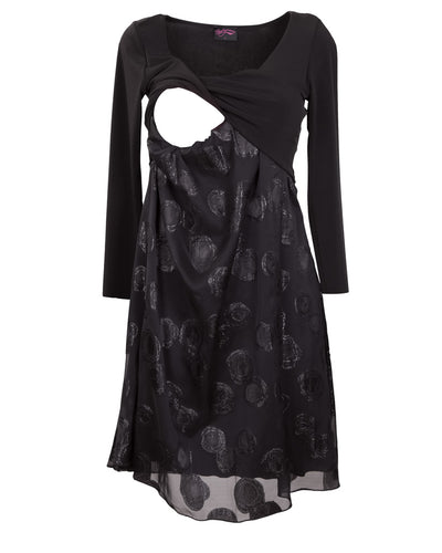 Black silk breastfeeding dress for weddings and special events - detail