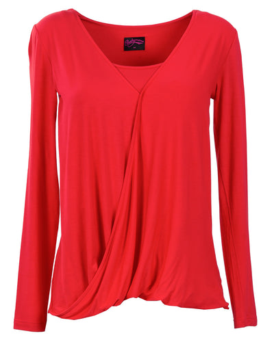 Red Twist Nursing Top by Peachymama Australia - Front