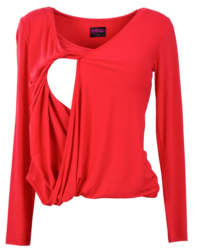 Red Twist Nursing Top by Peachymama Australia - Opening for Breastfeeding