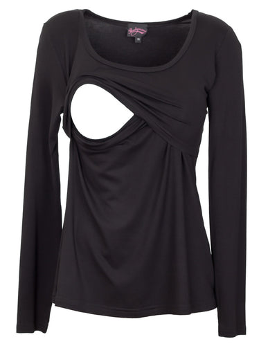Classic Black long sleeve nursing top - detail