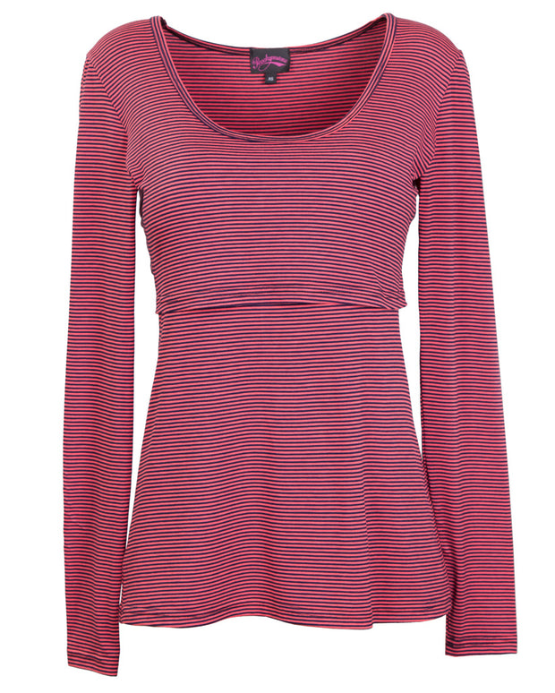 Peach Navy Stripe long sleeve breastfeeding top