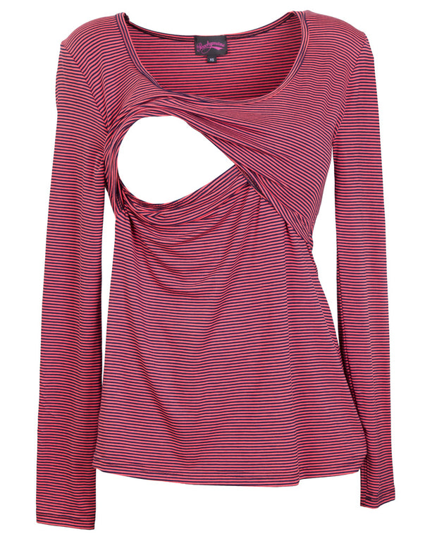 Peach Navy Stripe long sleeve breastfeeding top showing opening for nursing