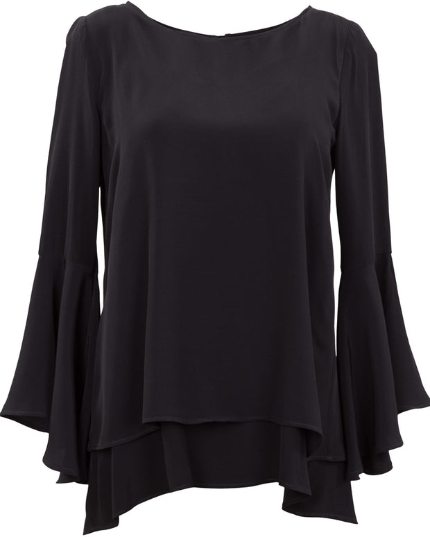Black frilled sleeve breastfeeding top