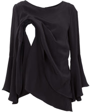 Black frilled sleeve breastfeeding top - opening detail