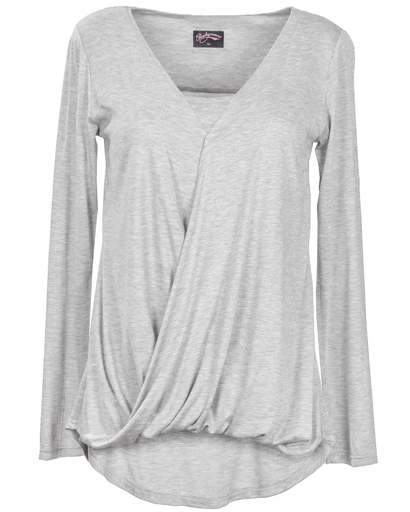 Grey Twist Breastfeeding Top - Front