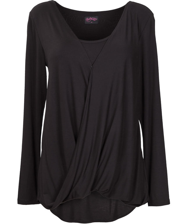 Black Twist Breastfeeding Top - Front
