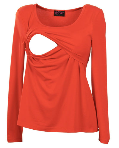 Red long sleeve nursing tank top from Peachymama Australia - opening