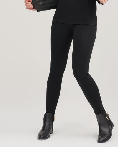 Post maternity leggings with high waist in black by Peachymama