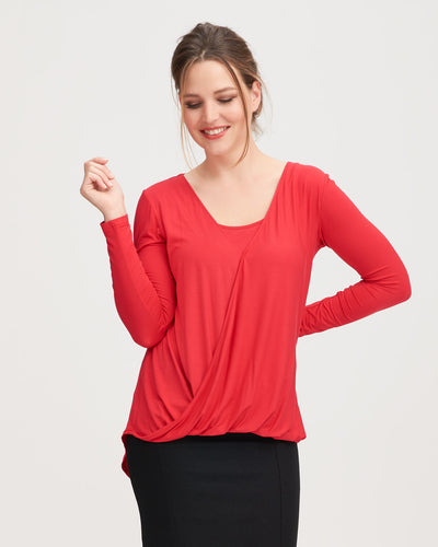 Nursing top in red twist front style by Peachymama