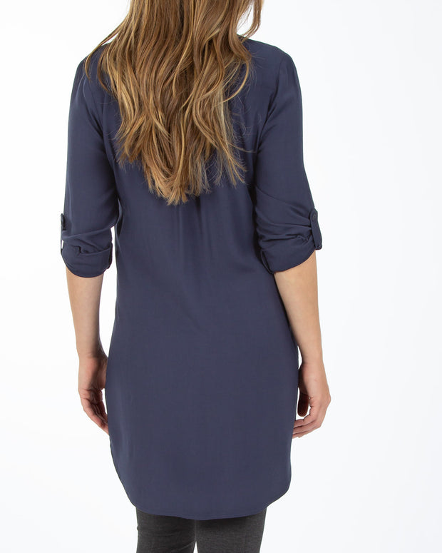 Breastfeeding shirt dress in Navy Blue from Peachymama Australia - showing back