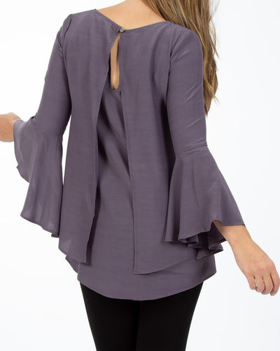 Peachymama long frill sleeve breastfeeding top - back