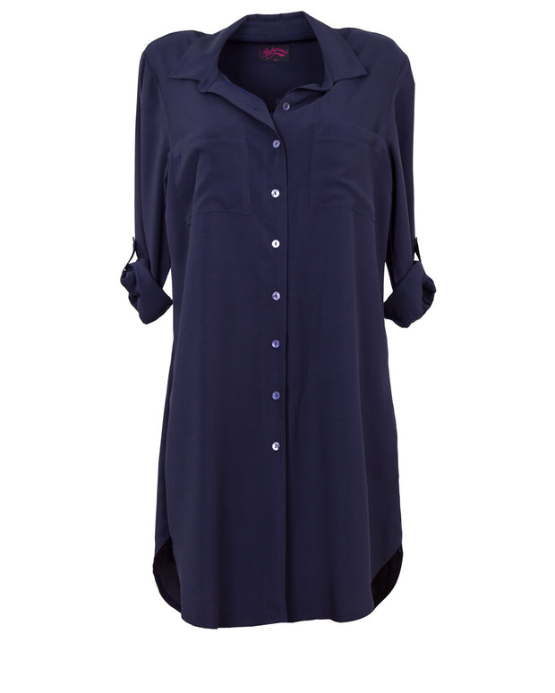 Blue Navy Breastfeeding shirt dress by Peachymama