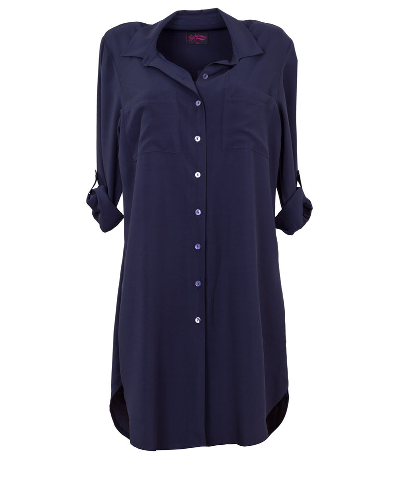 Breastfeeding shirt dress in Navy Blue from Peachymama Australia - model 2