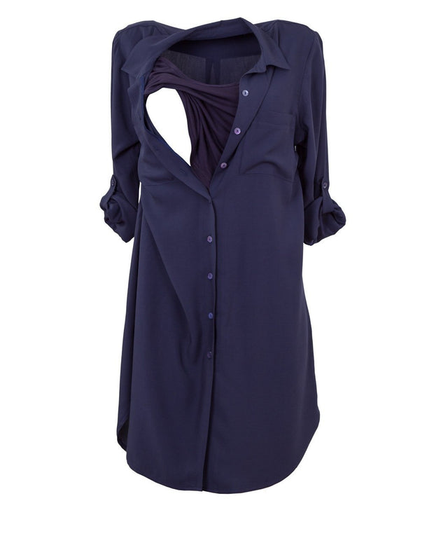 Navy Blue Nursing Shirt Dress showing opening for Breastfeeding