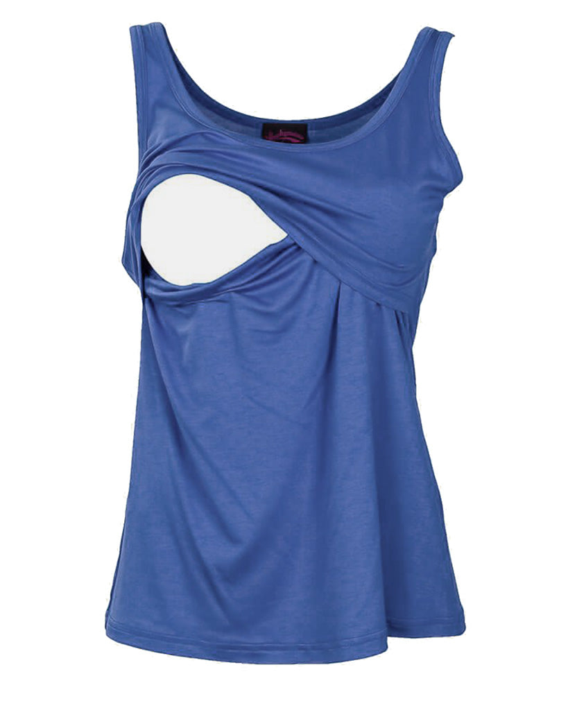 Blue Nursing Tank Top by Peachymama - showing opening for breastfeeding