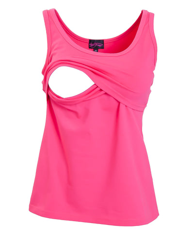 Pink Nursing Tank Top showing opening for breastfeeding