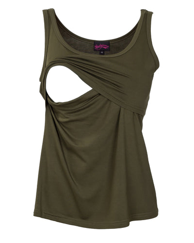 Bamboo Nursing Tank Top in Khaki Green by Peachymama showing opening for breastfeeding