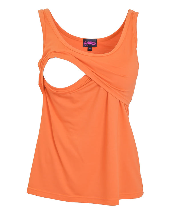 Brilliant Orange Nursing Tank Top by Peachymama showing opening for breastfeeding