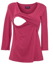 Maroon V-Neck 3/4 Sleeve Nursing Top - opening detail