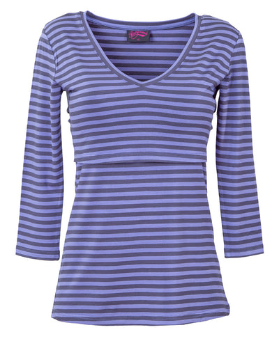 Blue/Navy Striped V-Neck Bamboo Breastfeeding Top - front