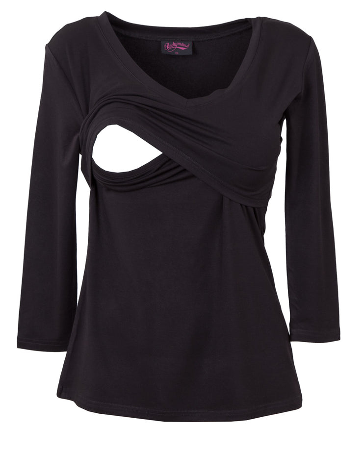 Black V Neck Nursing Top by Peachymama showing opening for breastfeeding.