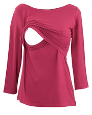 Maroon boatneck nursing top - detail