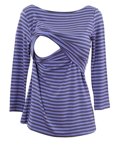 Blue Navy striped boatneck nursing top - Open