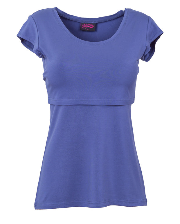 Blue Bamboo Breastfeeding Cap Sleeve Top - front