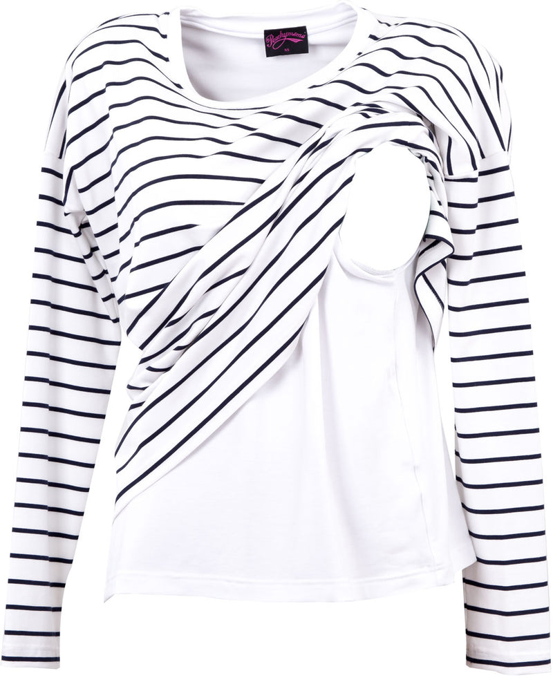 White and black breastfeeding top with long sleeves