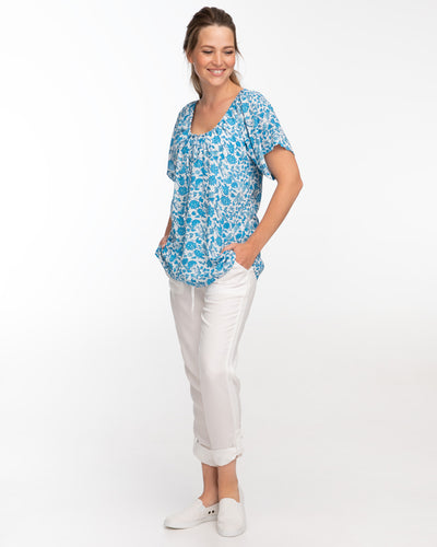 China Blue Beach Nursing Top by Peachymama - Side