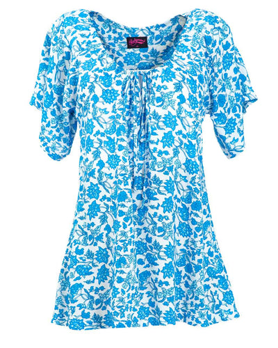 China Blue Beach Nursing Top by Peachymama - front