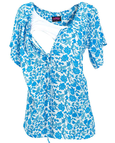 China Blue Beach Nursing Top by Peachymama - opening