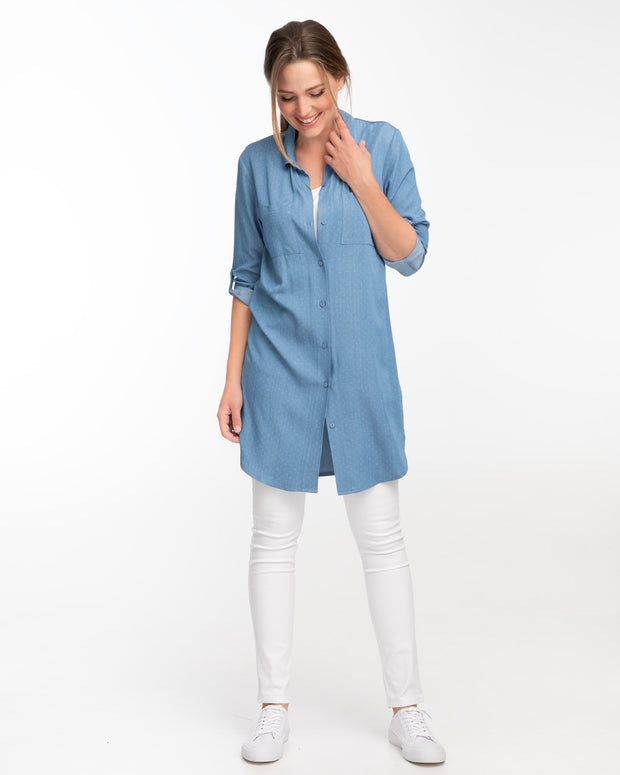 Light blue denim shirt dress for breastfeeding by Peachymama 2
