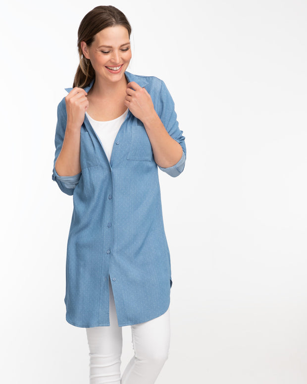 Light blue denim shirt dress for breastfeeding by Peachymama 3